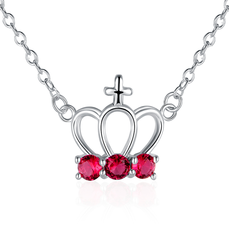 n614 925 sterling silver jewelry Crown with rose red stone pendant necklace women wedding fine fashion trendy jewerly promotion