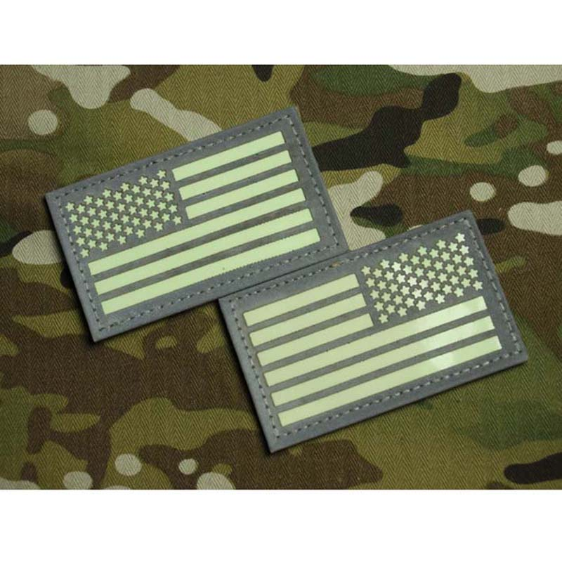 LEFT RIGHT IR US FLAG Reflect Glow Patch Badge armband for Tactical Army AIRSOFT Free Shipping