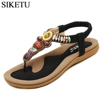 SIKETU Size 35 42 Bohemia Flat Sandals Casual Gladiator Beach Shoes Woman String Bead Flip Flops