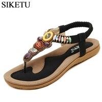 SIKETU Size 35 42 Bohemia Flat Sandals Casual Gladiator Beach Shoes Woman String Bead Flip Flops
