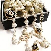 Mimiyagu длинное ожерелье с искусственным жемчугом для женщин № 5 двухслойная Длинная цепочка с кулоном Ожерелье для вечеринки