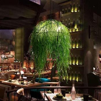 Mock Plant Kroonluchter Thema Muziek Restaurant Bar Pub Kroonluchter Creatieve Cafe Kroonluchter Lampen Hotel Groene Lampen ZA428519