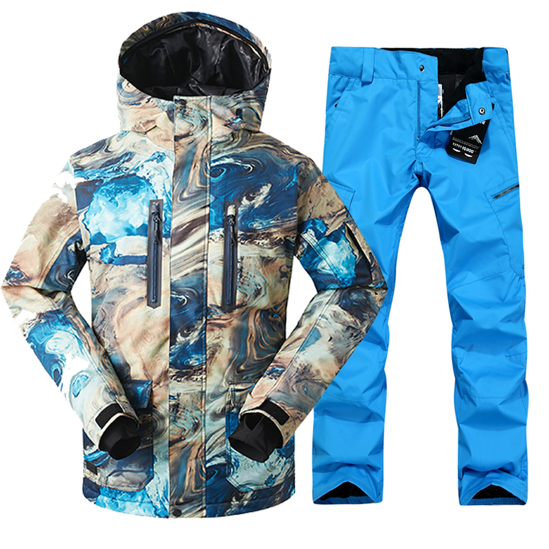 GSOU SNOW Men Ski Jacket Pant Snowboard Suit Windproof Waterproof Super Warm Male Outdoor Sport Wear Winter Clothing Trouser Set 2018 gsou snow men ski jacket snowboard clothing windproof waterproof thermal breathable male clothing outdoor sport wear winter