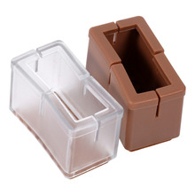 8pcs Silicone Chair Leg Caps Furniture Table feet Covers Floor Protectors 2.4 x 4.5 x 3.1cm (Transparent/Brown)
