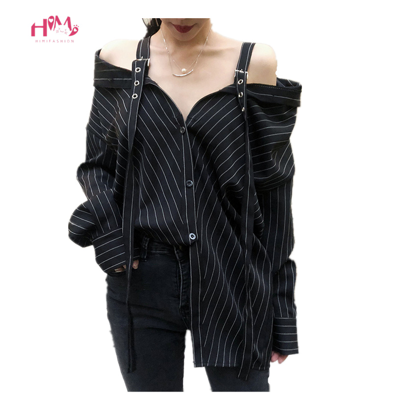 Harajuku Punk <font><b>Gothic</b></font> Off Shoulder Blouse Tops 2019 <font><b>Women</b></font> Korean Fashion <font><b>Sexy</b></font> Strapless Long Sleeve Vinatge Striped Kpop <font><b>Shirts</b></font> image