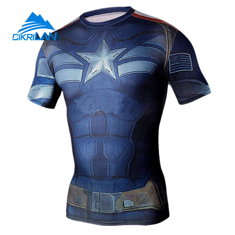 Hot Sale Summer Super Hero Outdoor Sport Trekking Tshirt Homme Bodybuilding Fitness Hiking Climbing T-shirt Men Gym Camisetas