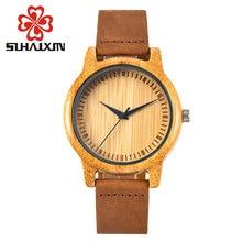 Bamboo Wood Watches Women Dress Quartz Wristwatch Leather Strap Watch Men's Fashion Luxury Brand Retro Relojes Hombre Male Clock
