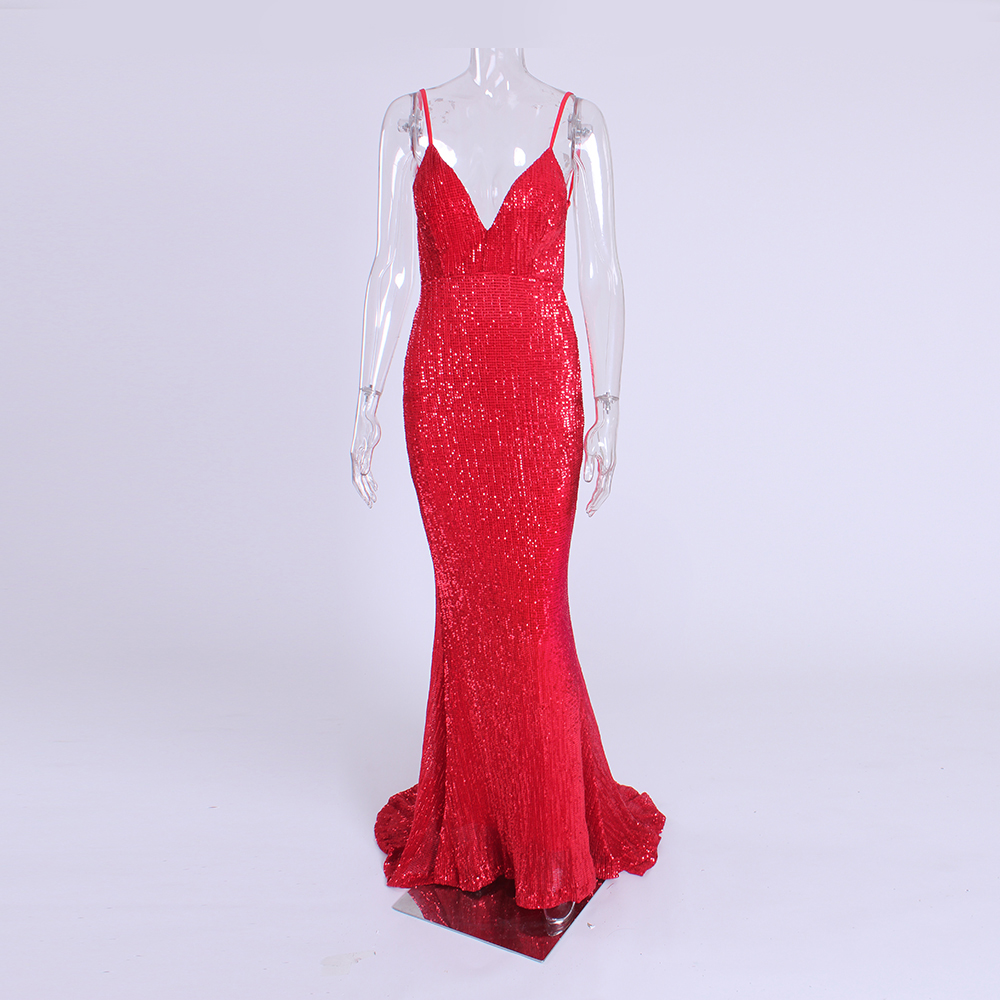 NEW Summer Shiny Sequined Open Back Red Maxi Dress Stretch Backless V Neck Floor Length Full
