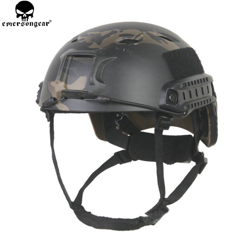 EMERSONGEAR FAST Helmet with Protective Pads BJ Type Emerson Helmet Airsoft Tactical Cycling Helmet Multicam Black EM5659 tactical fast helmet pj type sports protective helmet black de fg cycling helmet abs material m l