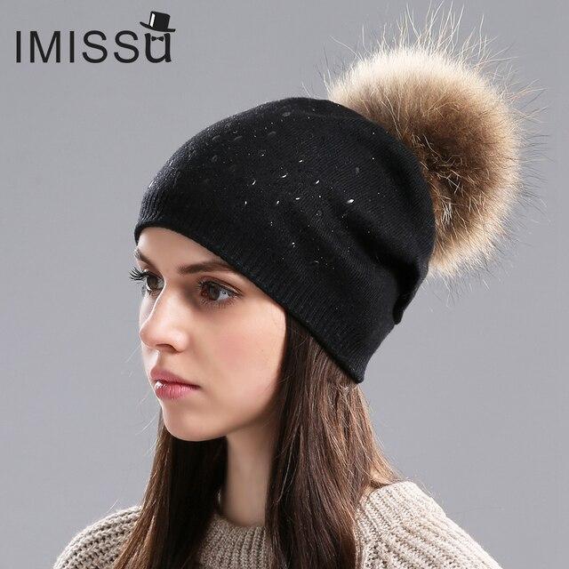 IMISSU Mujeres Sombreros de Invierno Gorros de Lana de Punto Cap Pom Pom Sombrero de Moda Real de Piel De Mapache Casual Tapas para Las Niñas