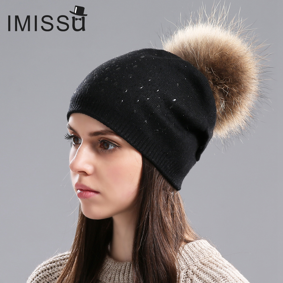 IMISSU Women's Hats Winter Knitted Wool Beanies Cap Real Raccoon Fur Pom Pom Hat Fashion Casual Caps for Girls