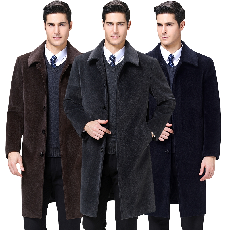 2019 Men Thicken long wool coat for mens wool jacket winter Faux velvet Casual warm cashmere clothes