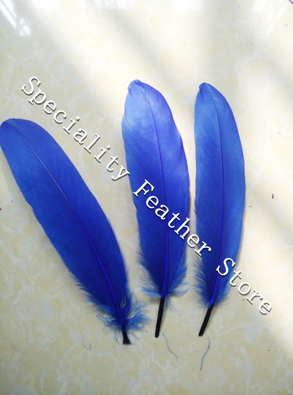 Wholesale 1000pcs/lot royal blue Color 6-8/15-20cm real Goose feathers for wedding hat hair accessories craft making