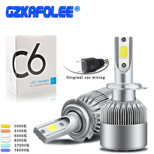 GZKAFOLEE 2PCS H7 LED H4 H1 H3 H8 H9 H11 H13 H16 Auto C6 Car Headlight Bulb HB1 HB2 Car Styling 6000K 4300K 8000K auto fog light