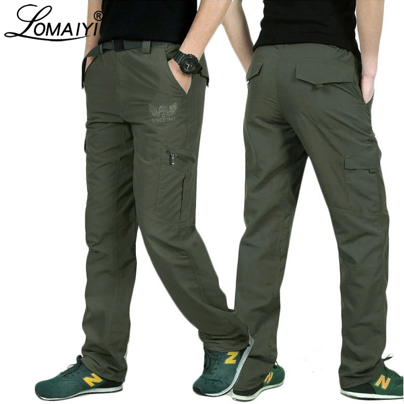 LOMAIYI Plusz méretű rakomány nadrág férfi tavaszi / nyári katonai stílusú nadrág férfi nadrág férfi fekete alkalmi nadrág zsebekkel AM005