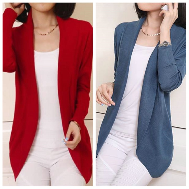 S-XL Spring Autumn Plus Size Slim Woman  Thin Sweater Coat Loose In The Long Section  Scarf Collar Cardigan Knitwear Outerwear