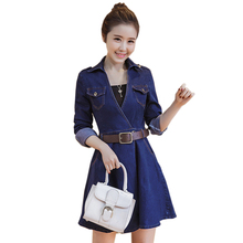 Plus Size 4xl Autumn Denim Jean Dress Women Long Sleeves Dresses Bodycon Sexy Evening Party Vestidos Causal