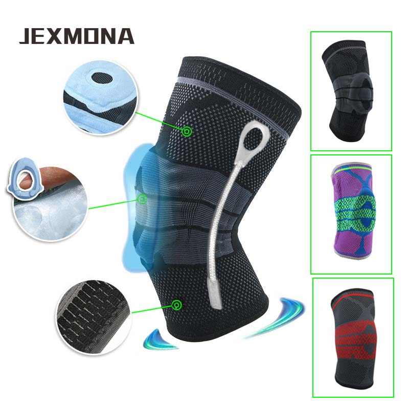 Outdoor running volleyball silicone Knee protector 3D Knitted spring support fitness Compression knee sleeves  sports joelheira
