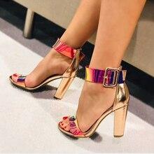 2019 New Design Luxury Champagne High Heel Women's Sandals Transparent Colourful Blink PVC Ladies Shoes Sexy Buckle Strap Sandal недорого