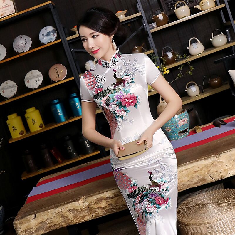 Fashion Summer Long Cheongsam Chinese Style Dress Womens Slim Qipao New Arrival Vestido Size S M L XL XXL XXXL 4XL 5XL 6XL J3038|Dresses| |  - title=