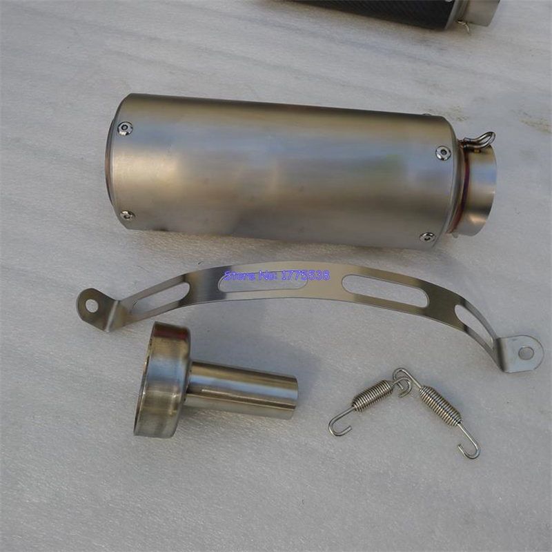 Imitation Titanium Customized ID:51mm/61mm/63mm/65mm Motorcycle Exhaust Pipe Muffler Escape Damper with DB Killer Baffle Parts id 51mm universal motorcycle exhaust muffler pipe escape real carbon fiber titanium with moveable db killer txk110