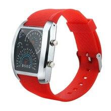 be856069ae8 Marca Hot Mens Relógios Moda masculina de Luxo LEVOU Luz de Flash Turbo  Velocímetro Do Carro