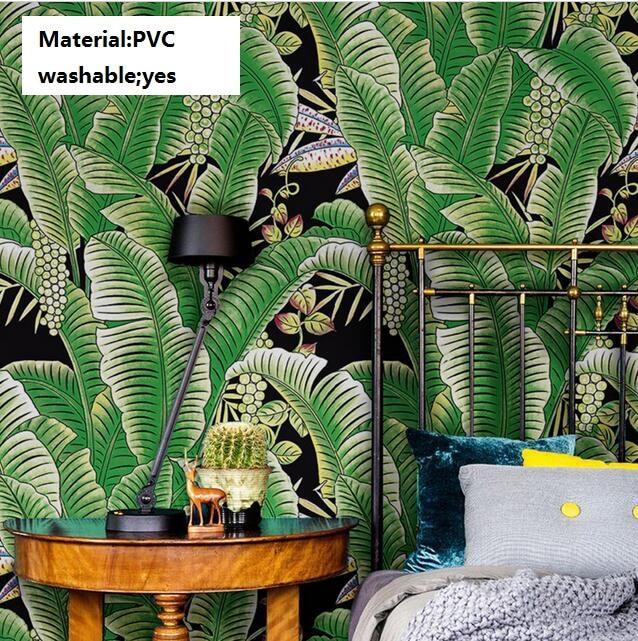 Thickened Modern PVC Waterproof Southeast Asian Green Banana Leaves Wallpaper 3d Mural Washable Photo Wallpaper For Walls 3 d встраиваемая посудомоечная машина indesit disr 57m19 ca eu
