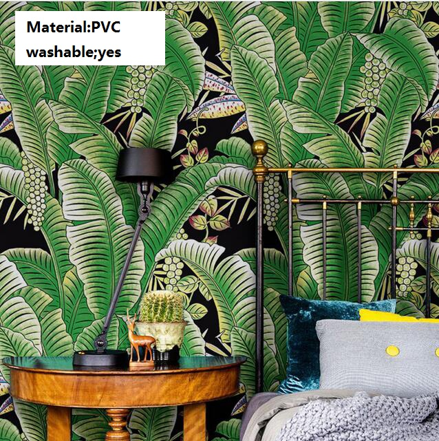 Thickened modern pvc waterproof southeast asian green banana leaves wallpaper 3d mural washable - Washable wallpaper ...