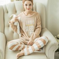 New Women Pajamas Long Sleeves Round Neck Letter Pattern Female Striped Pants Home Service Camel Color