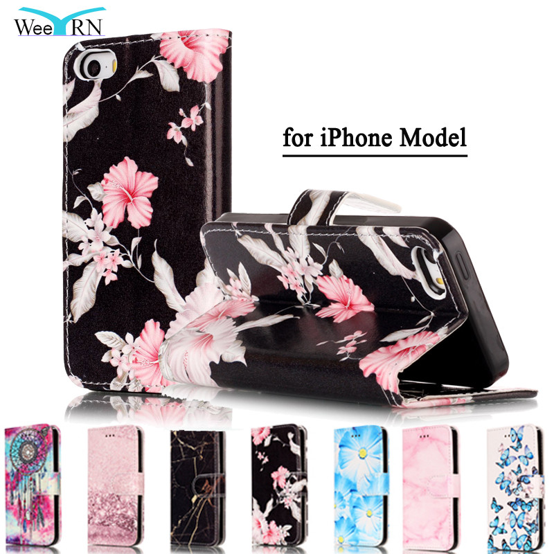 Fashion Marble PU Leather Flip Phone Case Fundas For Apple iPhone 6 6S 7 Plus 5S 5C SE Back Cover Luxury Wallet Coque Case Cover