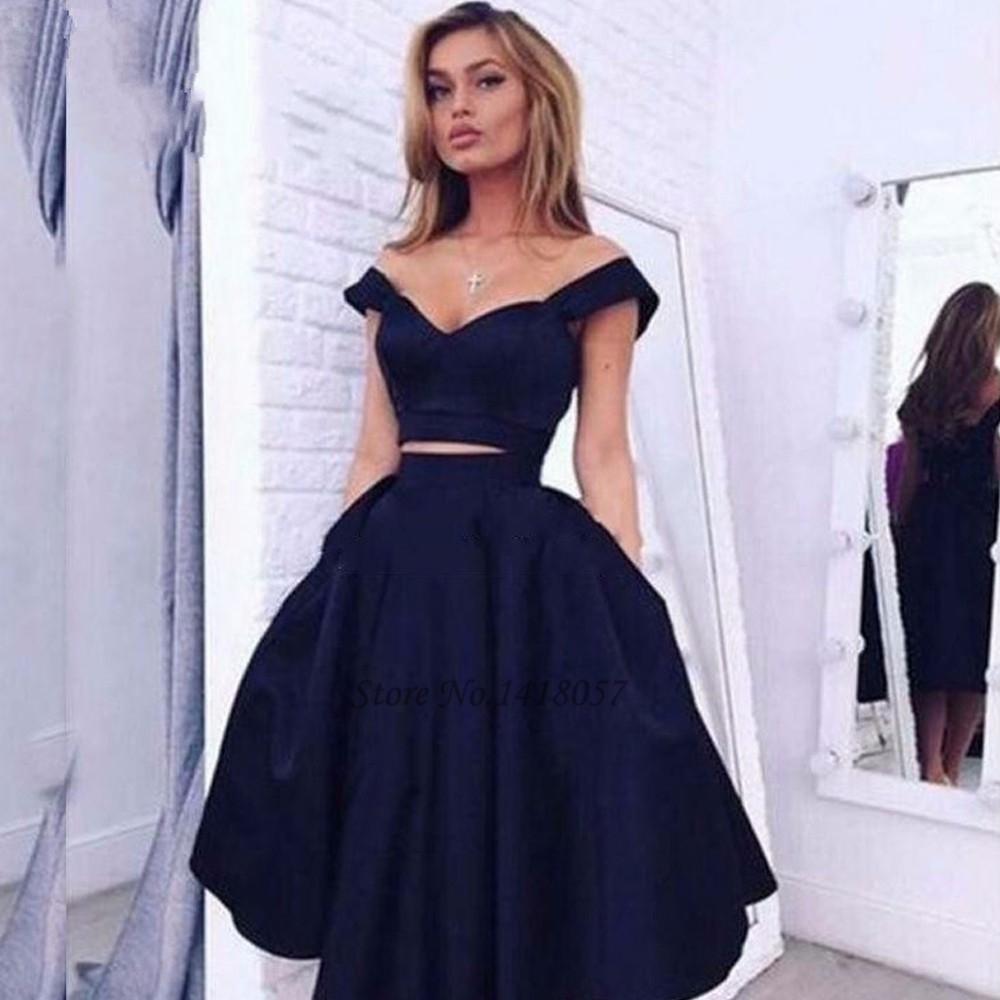 c97a51cc6 Prom Dresses 2017 Navy Blue 2 Piece Short Prom Dresses Cheap Satin Knee  Length Homecoming Dress Imported Sexy Party Gowns Gala