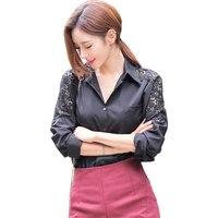 2017 de la moda coreana de las mujeres blusas más el tamaño S ~ 3XL ganchillo del cordón blanco blusas camisa de las señoras hollow camisetas de manga larga oficina blusas