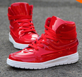 High Top  For Men PU Leather Lace Up Red White Black Color Mens Casual Shoes Men High Top  Retail
