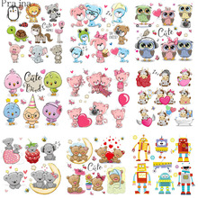 Prajna Thermal Stickers Iron On Transfer For Clothes Cute Bear Patch Heat Vinyl Applique Baby Tshirt Cartoon Set