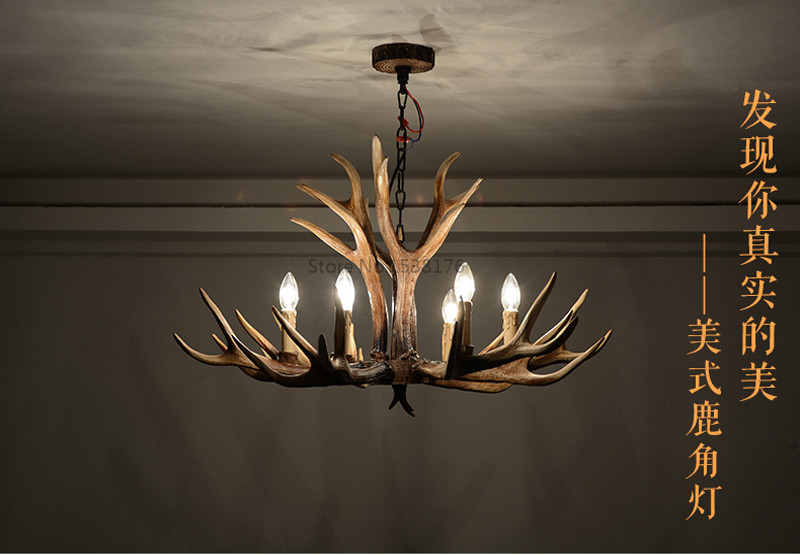 American E14 6 8 10 Heads Europe Deer Horn Antler Pendant Lamp Resin Antler Lampshade Parlor Hall Decor Suspension Luminaire6