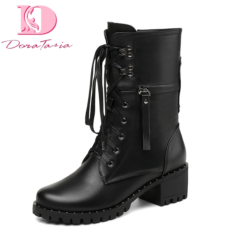 DoraTasia Brand New Cow Leather Genuine Leather Square Heels Best Quality Boots Women Shoes Zipper Boots Shoes WomanDoraTasia Brand New Cow Leather Genuine Leather Square Heels Best Quality Boots Women Shoes Zipper Boots Shoes Woman
