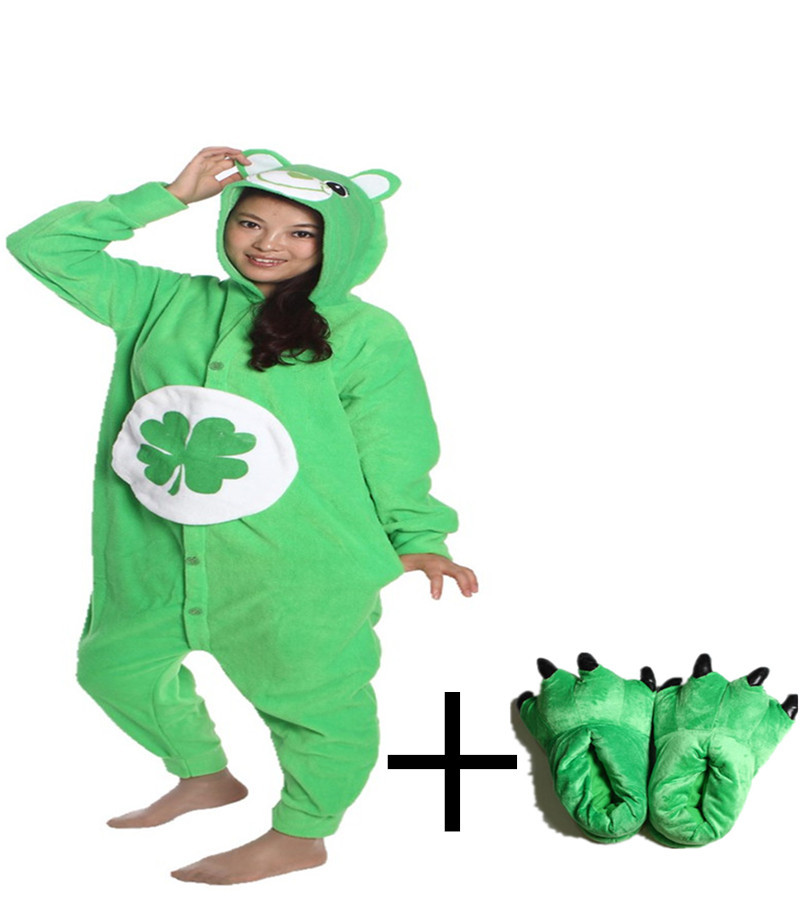 New Round Neck Anime Cartoon Onesie Unisex Novel Pajamas Funny Animal Green Bear Solid Casual Homewear Lounge Wear Slipper