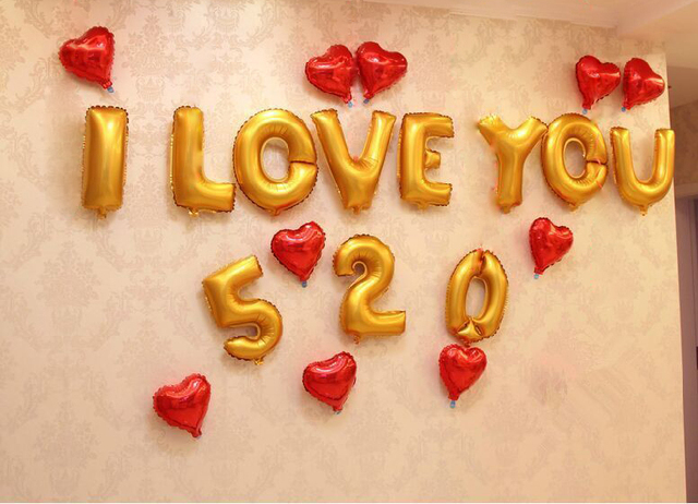 foil balloons wedding romantic birthday party balloon gold foil letter i love you 520 red heart