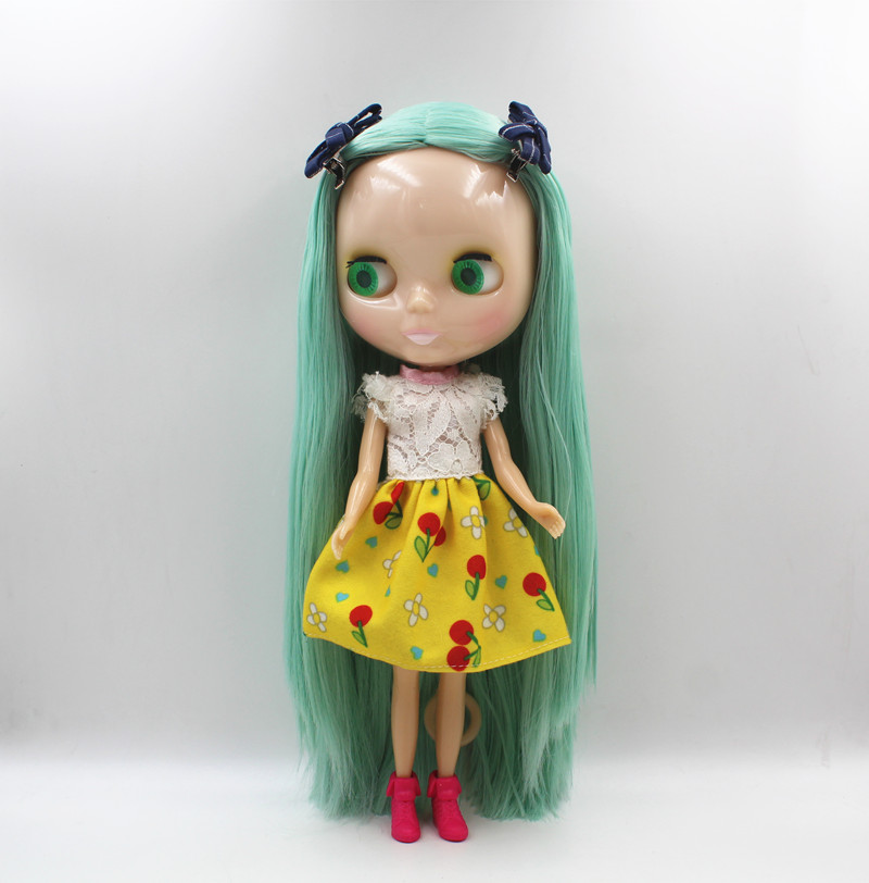 Blygirl Blyth doll Jade green direct hair normal body 7 joint naked doll dolls can be replaced