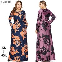 QMGOOD 2018 Autumn Printing Maxi Dress Vintage Women's Dress Large Size 6XL Long Sleeve Plus Size Retro Female Luxury Dresses