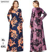QMGOOD 2018 Autumn Printing Maxi Dress Vintage Women's Dress Large Size 6XL Long Sleeve Plus Size Retro Female Luxury Dresses