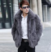 Winter mens faux fox fur coats thicken warm overcoat leather jackets and masculino chaqueta european plus size S- 6XL