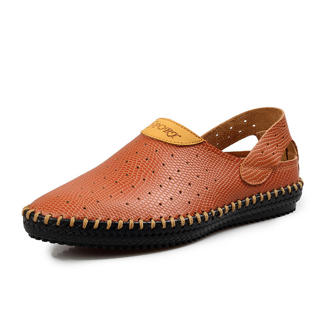 bcb941c616aa22 Fashion Summer Men Sandals Casual Summer Shoes Leather Sandals Men Handmade  Brown Black Blue