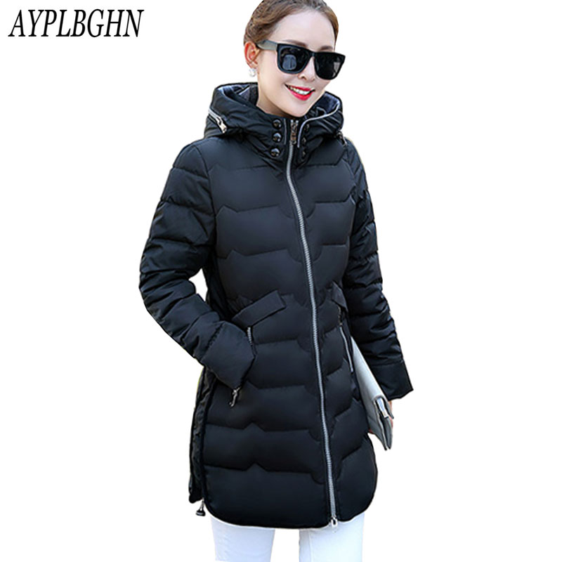 Winter Long Jackets New Women Slim Fashion Warm Wadded jacket Long sleeve Hooded Cotton-padded Big yards 6XL Long Coat Female 2017 new winter fashion women down jacket hooded thick super warm medium long female coat long sleeve slim big yards parkas nz18