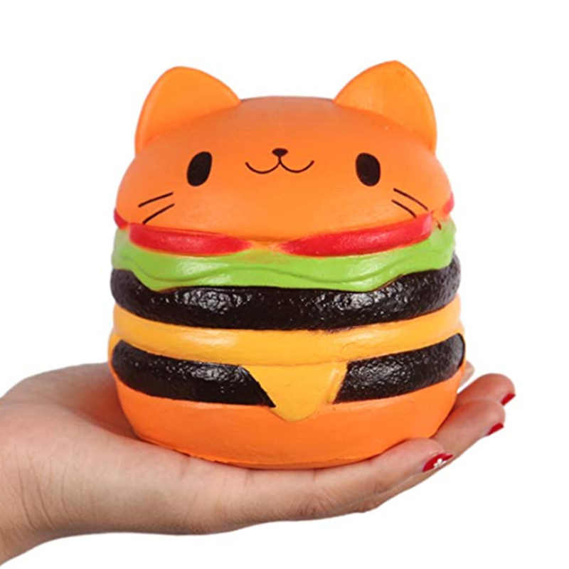 Jumbo Cat Face Burger Squishy Simulated Bread PU Scented Soft Slow Rising Squeeze Toys Stress Relief Baby Kid Toy Xmas Gift