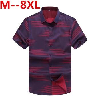 Plus 10XL 8XL 6XL 5XL 4X 2018 new summer men shirt casual men's shirt short sleeve thin breathable loose blue shirts men clothes