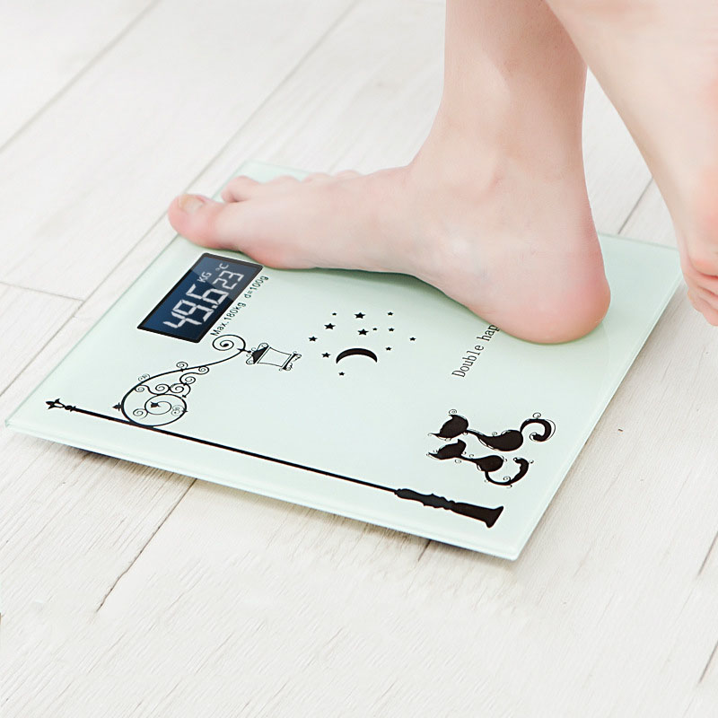 Digital glass smart scales electronic weight measuring LCD display division bathroom floor scale max 180kg 1000ml glass measuring cylinder