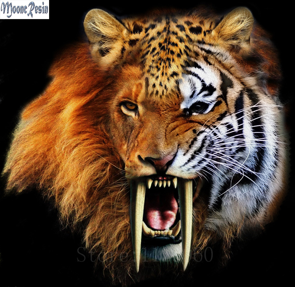 MOONCRESIN Diamond Mosaic Variation Of The Tiger Pattern Sticker Full Square Embroidery Flower Diy Painting Kits