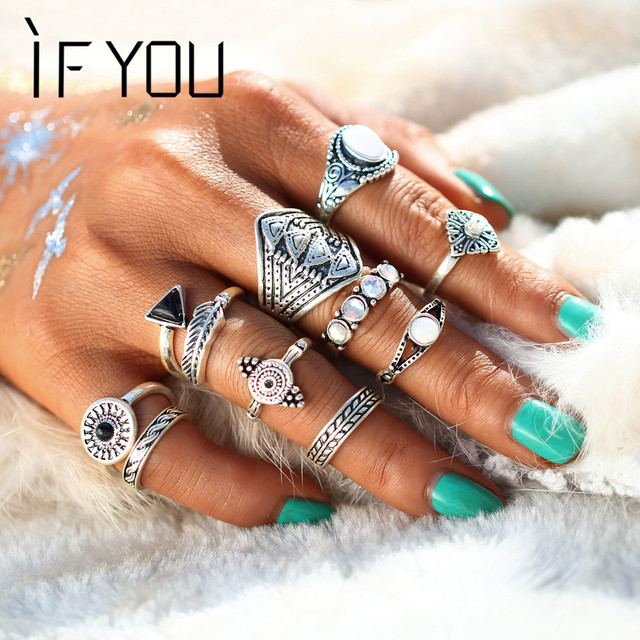 10PCS/Set Vintage Bohemian Midi Ring Sets Turkish Mujer Natural Opal Stone Black Crystal Knuckle Rings Jewelry For Women