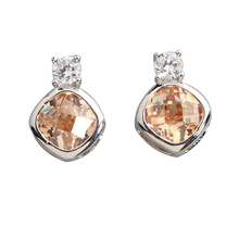 Bewitching Brown Morganite 7*7mm Semi-precious Silver Cool For Womens Stud Earrings ED0101